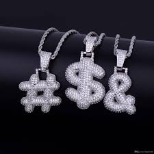 letter of plaint jewelry new whole iced out custom bubble question mark dollar sign pendant