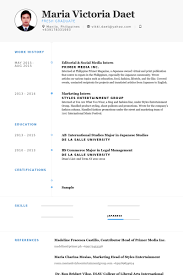 Editorial & Social Media Intern Resume samples