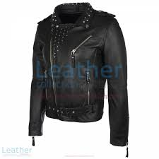 mens studded collar leather jacket side view