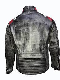 mens vintage cafe racer retro biker black distressed leather jacket