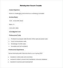 A Resume Format Sample Marketing Intern Resume Template Resume