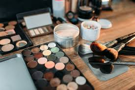 collection of cosmetology tools on wooden table professional makeup artist cosmetic accessories closeup stock photo colourbox
