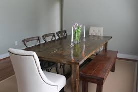 country style large farmhouse dining table with flower wood dining table with bench and chairs