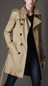 burberry london men mid length technical cotton trench coat