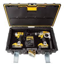 dewalt tough system drill case. dewalt dck290m2 18v xr li-ion combi drill and impact driver twinpack (2x4ah batteries tough system case toolstop