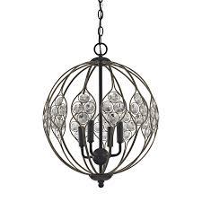 elk lighting crystal web 4 light chandelier in bronze gold el 81107 4