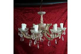eight branch vintage cut glass chandelier photo 1