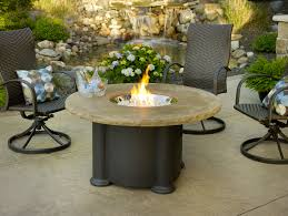 simple minimalist backyard house design with small dining area with round fire pit dining table and