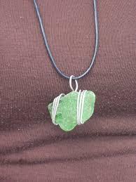 aluminum wrapped green sea gl pendant