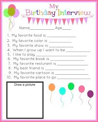 best birthday interview ideas kids birthday  birthday interview printables