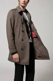 brown hugo slim fit trench coat in water repellent fabric hugo boss coats 50389109