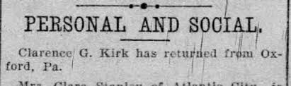 Clarence Kirk Returns From Oxford, PA - Newspapers.com