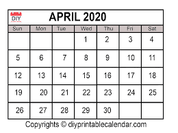 April 2020 Template April 2020 Printable Calendar Template