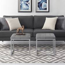 max grey pu leather cube ottoman pu leather tufted metal frame modern by inspired home com
