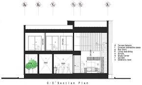 Elegant C Section Floor Plan of Modern House