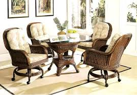 moroccan caster rattan and wicker dining set