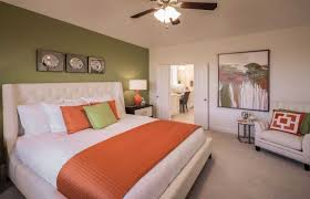 Serene Bedroom Green And Orange Play Together Beautifully In This Serene Master