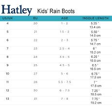 Hatley Rainboots Size Chart Shoe Size Chart Kids Shoe