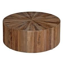 cyrano reclaimed wood round drum modern eco coffee table  kathy