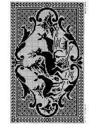 Filet Crochet Deer Pattern Purple Kitty