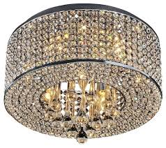crystal flush mount chandelier 7 light round chrome