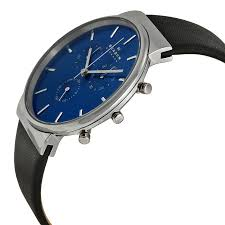 skagen ancher chronograph blue dial black leather mens watch 768680204568