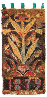 hooked rug large flowering plant with birds vertical orientation