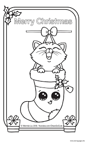 Small Picture Coloring Pages Christmas Card Kitten Draw So Cute Coloring Pages