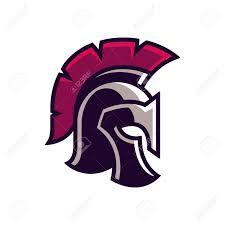 gladiator helmet logo or icon greek spartan warrior armor in cartoon ic book style