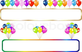 birthday balloons border horizontal. Wonderful Balloons Golden And Colorful Frame With Balloons Bunches Isolated On White  Stock  Vector Colourbox Inside Birthday Border Horizontal O
