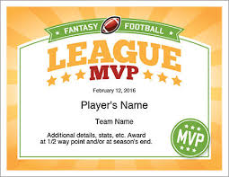 mvp award certificates league mvp award fantasy football