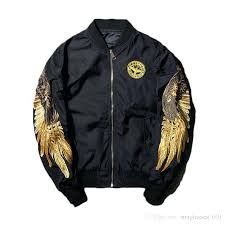 american eagle er jacket mens hot autumn embroidery gold wings stand collar fashion outwear men coat