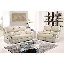 Stylish Sofas Cameo Ivory Cream Leather Power Electric Recliner Sofa Collection