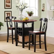 Small High Top Round Kitchen Table With Rattan Basket Storage And Chairs  With High Back Painted With Red And Black Color Decoration Ideas