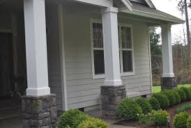 Decorations:Small Porch Idea With Natural Stone Pillar Design Sleek Front Porch  Ideas With Landscape
