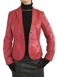 womens leather jacket blazer red