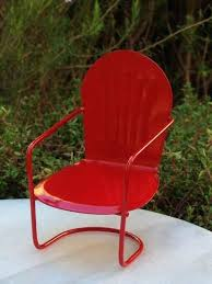 dollhouse outdoor furniture. Dollhouse Garden Furniture Miniature Fairy Red Metal Glider Chair New Outdoor .