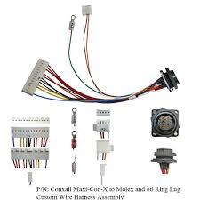 wire harness assemblies compatible cable inc conxall maxi con x to molex and 6 ring lug custom wire harness