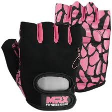 mrx weight lifting gloves in pink color heart series made of high quality synthetic leather palm silicon printed for better grip ideal for weight lifting