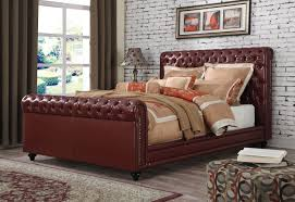 upholstered leather sleigh bed. Living Room Cute Queen Size Leather Bed UMF24350Q Sleigh Umf24350q Upholstered