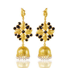 gold vermeil solid silver chandelier jhumka earring with black gems and pearl drop