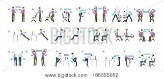 Poster The Office Sport Exercises For Office Office Yoga For Tired Employees With