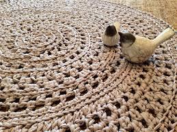 crochet doily floor rug taupe