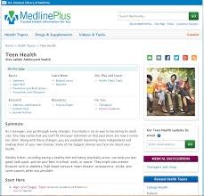 Library of medicine medlineplus teen