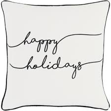 happy holidays black and white. Contemporary Holidays 18u201d Jet Black And Polar White U201chappy Holidaysu201d Decorative Holiday Throw  Pillow  32637138 Throughout Happy Holidays And D