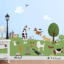 my wonderful walls cat and dog park l and stick removable wall decals animal theme