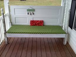 old door and porch post turned into a bench