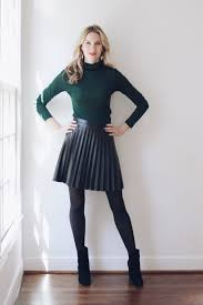 top j crew faux leather pleated skirt