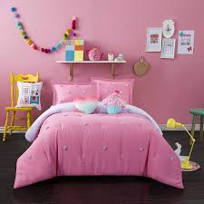 com better homes and gardens soft and cozy pom pom kids bedding full comforter set for girls 4 piece in a bag pink home kitchen