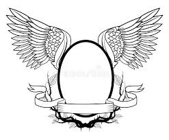 Frame With Wings Tattoo Art Design Stock Vector Illustration of